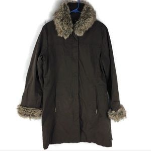 Woolrich Wood Brown Faux Fur Trim Long Coat EUC